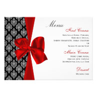 red damask wedding menu personalized invite