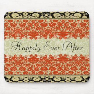 Red Damask Wedding Mouse Pad