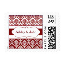 red damask wedding postage