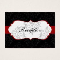 red  damask wedding Reception Cards
