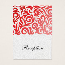 red  damask wedding Reception Cards