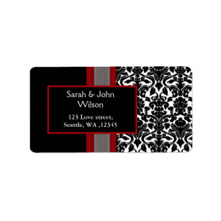 red damask wedding ,return address label