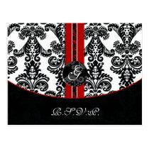 red damask  Wedding rsvp card