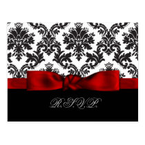 red damask wedding rsvp cards