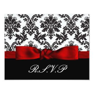 red damask wedding rsvp cards
