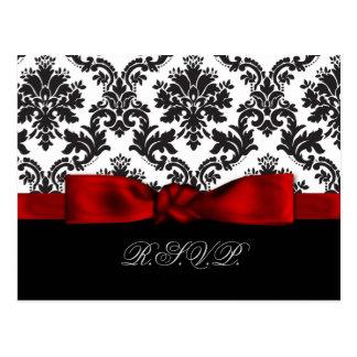 red damask wedding rsvp cards postcard