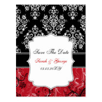 red damask ,wedding save the date postcard