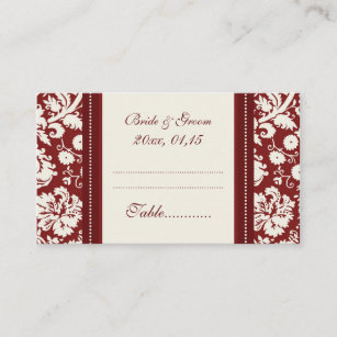 Red Damask Wedding Table Place Setting Cards & Table Setting Business Cards \u0026 Templates | Zazzle