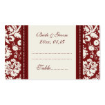 Red Damask Wedding Table Place Setting Cards