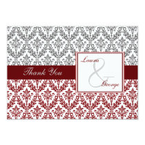 red damask wedding Thank You Card
