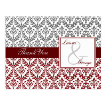red damask wedding Thank You Postcard