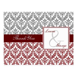 red damask wedding Thank You Postcard