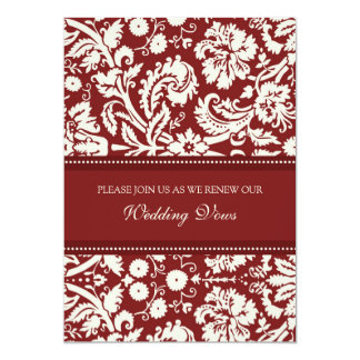 Red Damask Wedding Vow Renewal Invitations