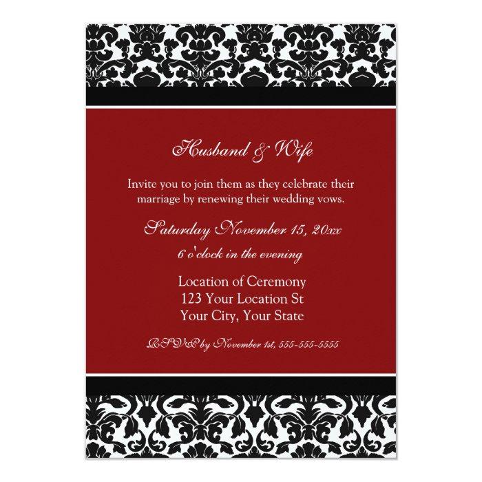 Red damask wedding vow renewal invitations zazzle