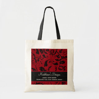 Red Damask with Black Swirls Custom Tote Bag