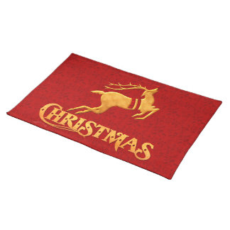 Red Damask with Golden Reindeer Christmas Placemat