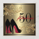 """Red Dancing Shoes - Fabulous 50th Birthday Invitation<br><div class=""""desc"""">If you need custom colors or assistance in creating your invitation,  feel free to contact me at zazzlepartydepot@gmail.com. I look forward to hearing from you!</div>"""
