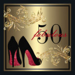 "Red Dancing Shoes - Fabulous 50th Birthday Invitation<br><div class=""desc"">If you need custom colors or assistance in creating your invitation,  feel free to contact me at zazzlepartydepot@gmail.com. I look forward to hearing from you!</div>"