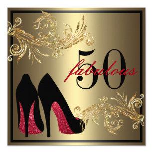 50th birthday invitations zazzle red dancing shoes fabulous 50th birthday invitation filmwisefo