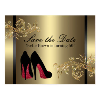 Red Dancing Shoes - Save The Date Postcard