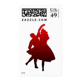 Red Dancing Silhouette Dancers Romantic Couple Postage