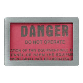 Red Danger Tag Belt Buckles
