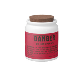 Red Danger Tag Candy Dishes