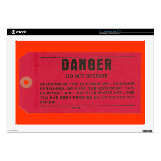 Red Danger Tag Laptop Decals