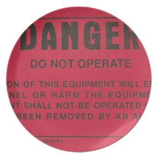 Red Danger Tag Melamine Plate