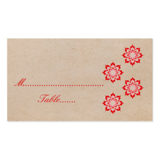 Red Daring Floral Blooms Wedding Place Card Business Card