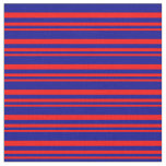 [ Thumbnail: Red & Dark Blue Colored Stripes Pattern Fabric ]