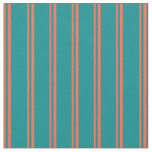 [ Thumbnail: Red & Dark Cyan Colored Striped/Lined Pattern Fabric ]