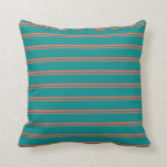 [ Thumbnail: Red & Dark Cyan Colored Striped/Lined Pattern Throw Pillow ]