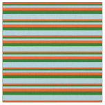 [ Thumbnail: Red, Dark Green, and Light Blue Stripes Fabric ]