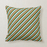[ Thumbnail: Red, Dark Green, and Light Blue Stripes Pillow ]
