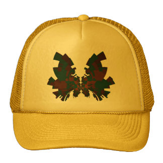 red-dark green butterfly trucker hat