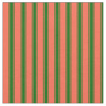 [ Thumbnail: Red & Dark Green Colored Lined Pattern Fabric ]