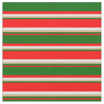 [ Thumbnail: Red, Dark Green, Tan & Light Cyan Colored Lines Fabric ]