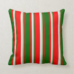 [ Thumbnail: Red, Dark Green, Tan & Light Cyan Colored Lines Throw Pillow ]