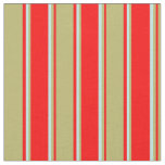 [ Thumbnail: Red, Dark Khaki, and Turquoise Stripes Fabric ]