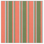 [ Thumbnail: Red, Dark Olive Green, and Grey Stripes Fabric ]