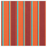 [ Thumbnail: Red, Dark Red, and Aqua Lined Pattern Fabric ]