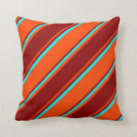 [ Thumbnail: Red, Dark Red, and Aqua Lined Pattern Throw Pillow ]