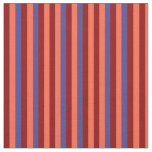 [ Thumbnail: Red, Dark Red, and Dark Slate Blue Colored Stripes Fabric ]