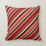 [ Thumbnail: Red, Dark Red, Sienna, Light Gray & Black Colored Throw Pillow ]