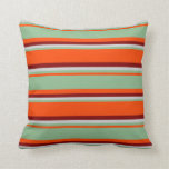 [ Thumbnail: Red, Dark Sea Green, Light Gray & Maroon Colored Throw Pillow ]