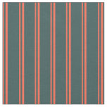 [ Thumbnail: Red & Dark Slate Gray Lined/Striped Pattern Fabric ]