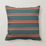 [ Thumbnail: Red & Dark Slate Gray Lined/Striped Pattern Pillow ]