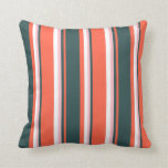 [ Thumbnail: Red, Dark Slate Gray, Pink, and White Pattern Throw Pillow ]