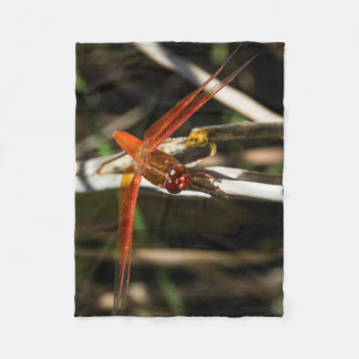Red Darner Dragonfly Fleece Blanket
